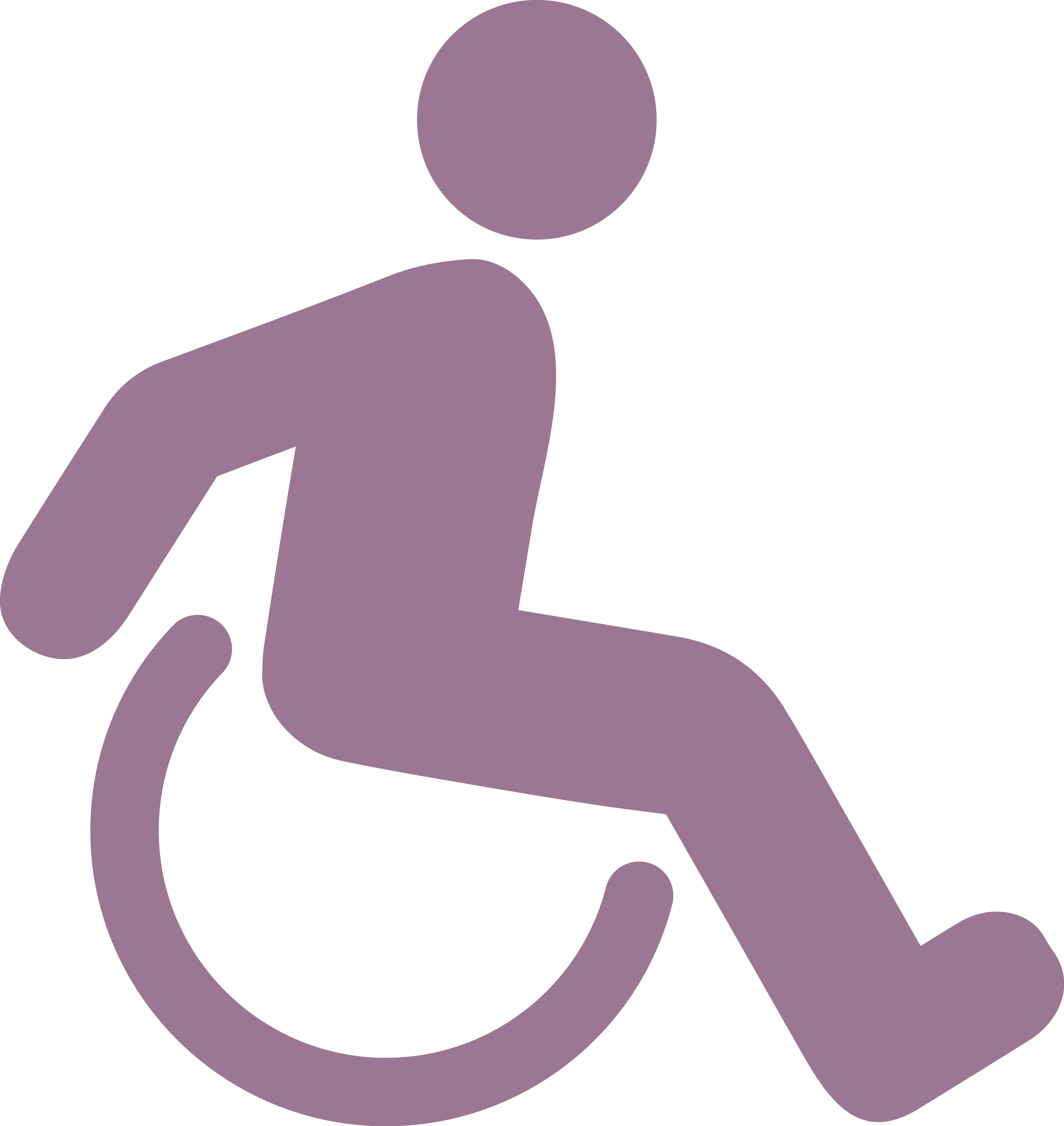 An abstract person in a wheelchair.