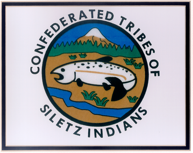 The Confederated Tribes of Siletz logo depicts a fish with a river below it and mountain above.