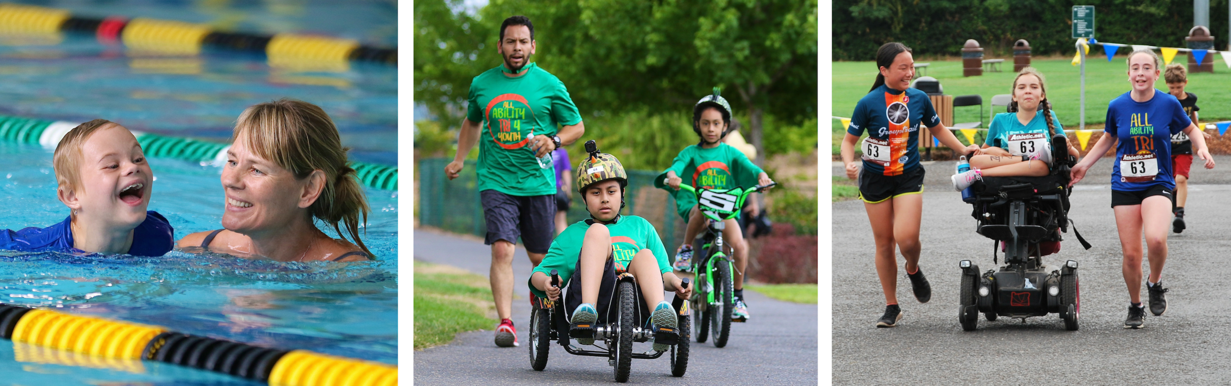 Three photos: One depicts a woman and child swimming together in a pool. One depicts an adult running, a child biking, and a youth using a recumbent bike, all wearing matching green t-shirts. And one depicts two youth running on either side of a third youth in a power chair, all three with race numbers pinned to their shirts.