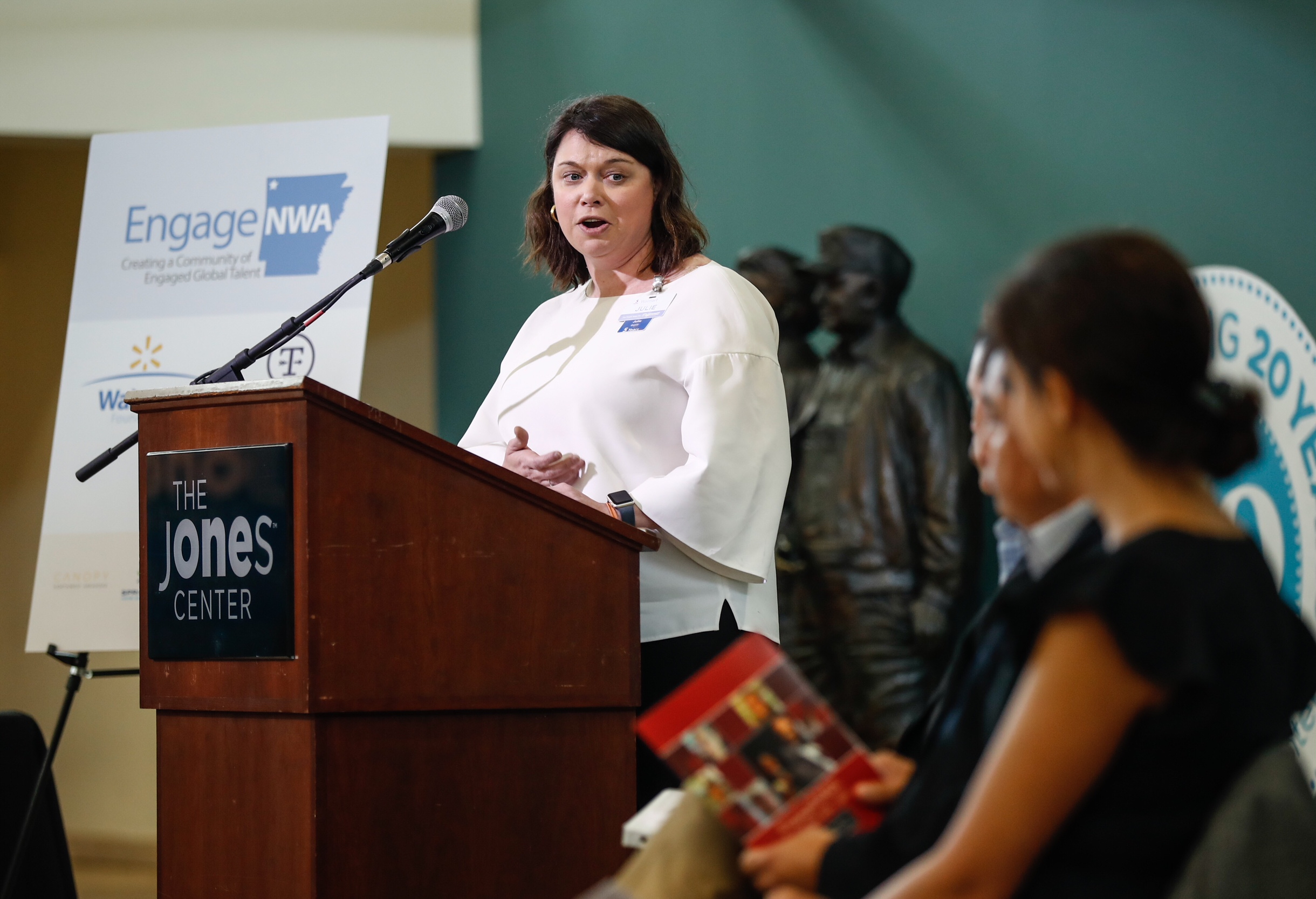 Julie Gerhrki, Vice President of Walmart Foundation speaks during the launch event on July 31 at The Jones Center.