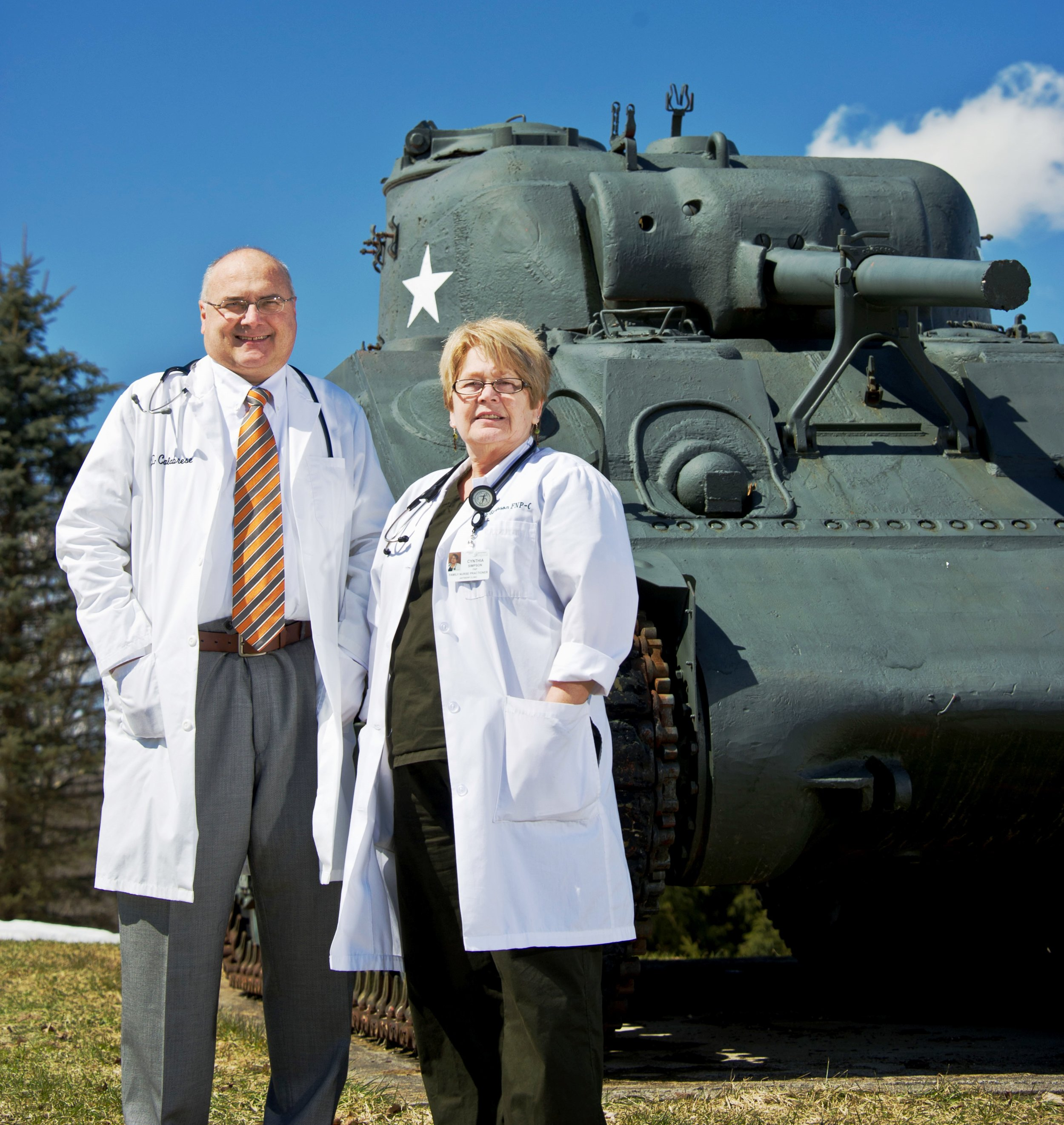Gerald Calabrese, MD, and Cynthia Simpson, NP, in the Antwerp Village Square.