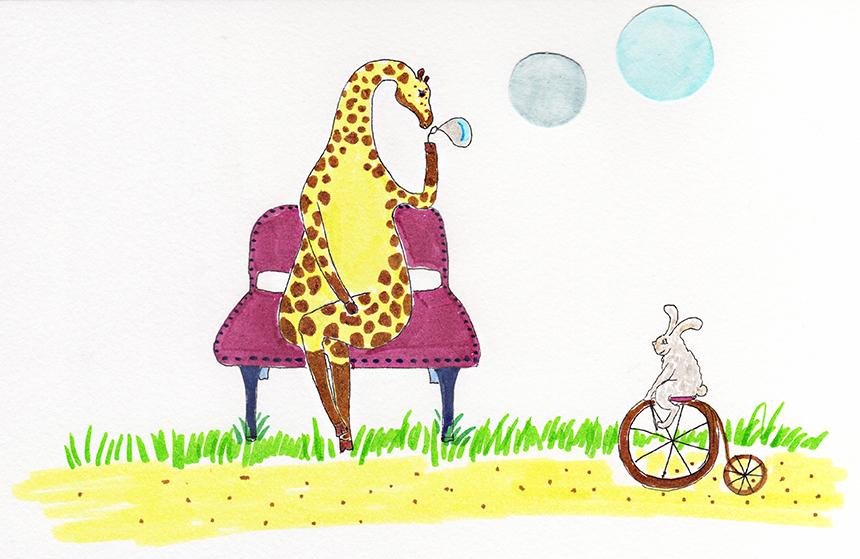 Giraffe Blowing Bubbles