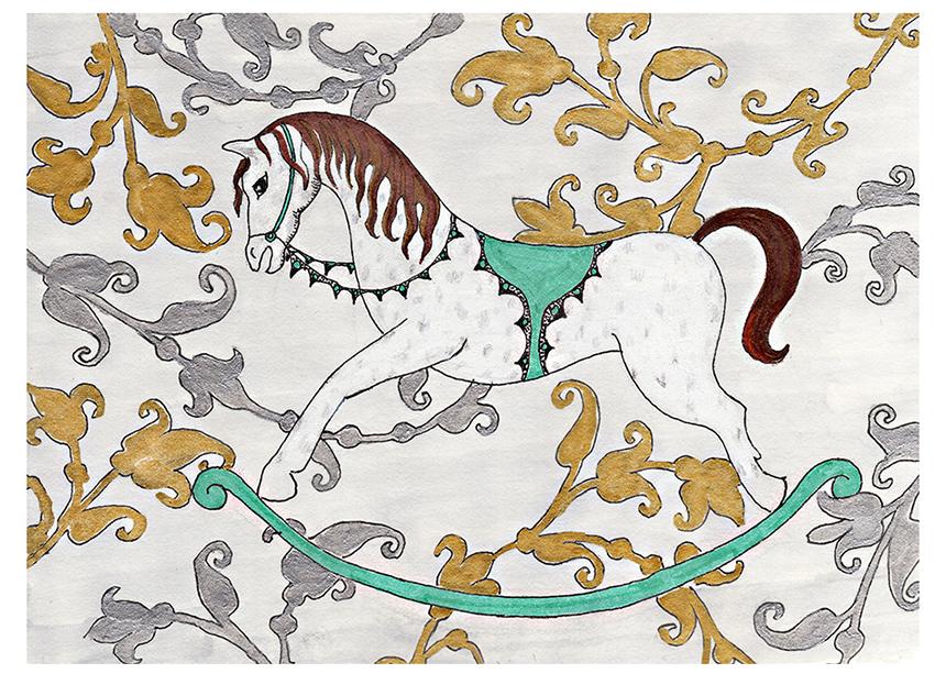 Victorian White Rocking Horse