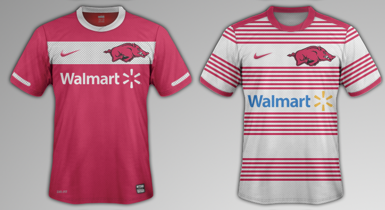 Kevin Ives' mock up of the University of Arkansas' jerseys.
