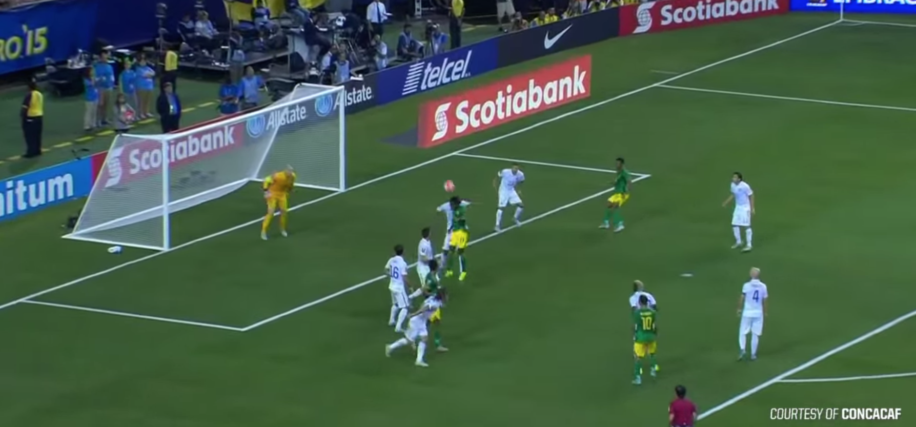 Eight yards out, this ball is routinely left by most goalkeepers for defenders to clear out on their own.