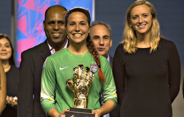 Rose Chandler holding the Golden Glove award from the 2016 CONCACAF Under-20 Women's Championship. Chandler did not return for her senior year at Penn State.  Photo from    gopsusports.com
