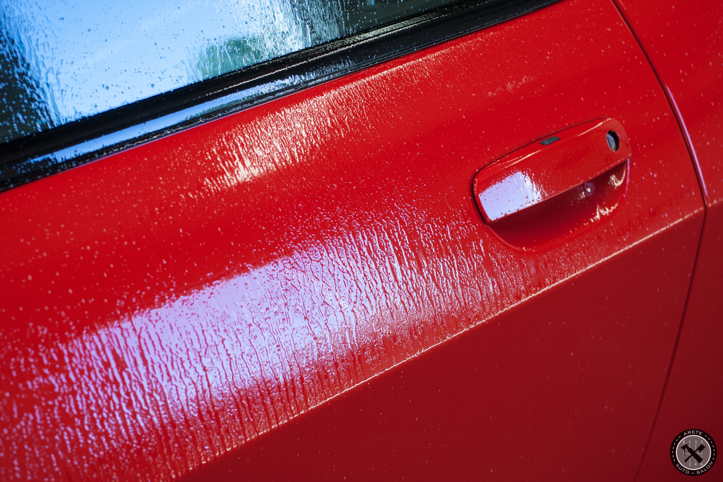 Iron-X was applied prior to our initial wash in order to remove embedded rail dust and loosen other contamination.