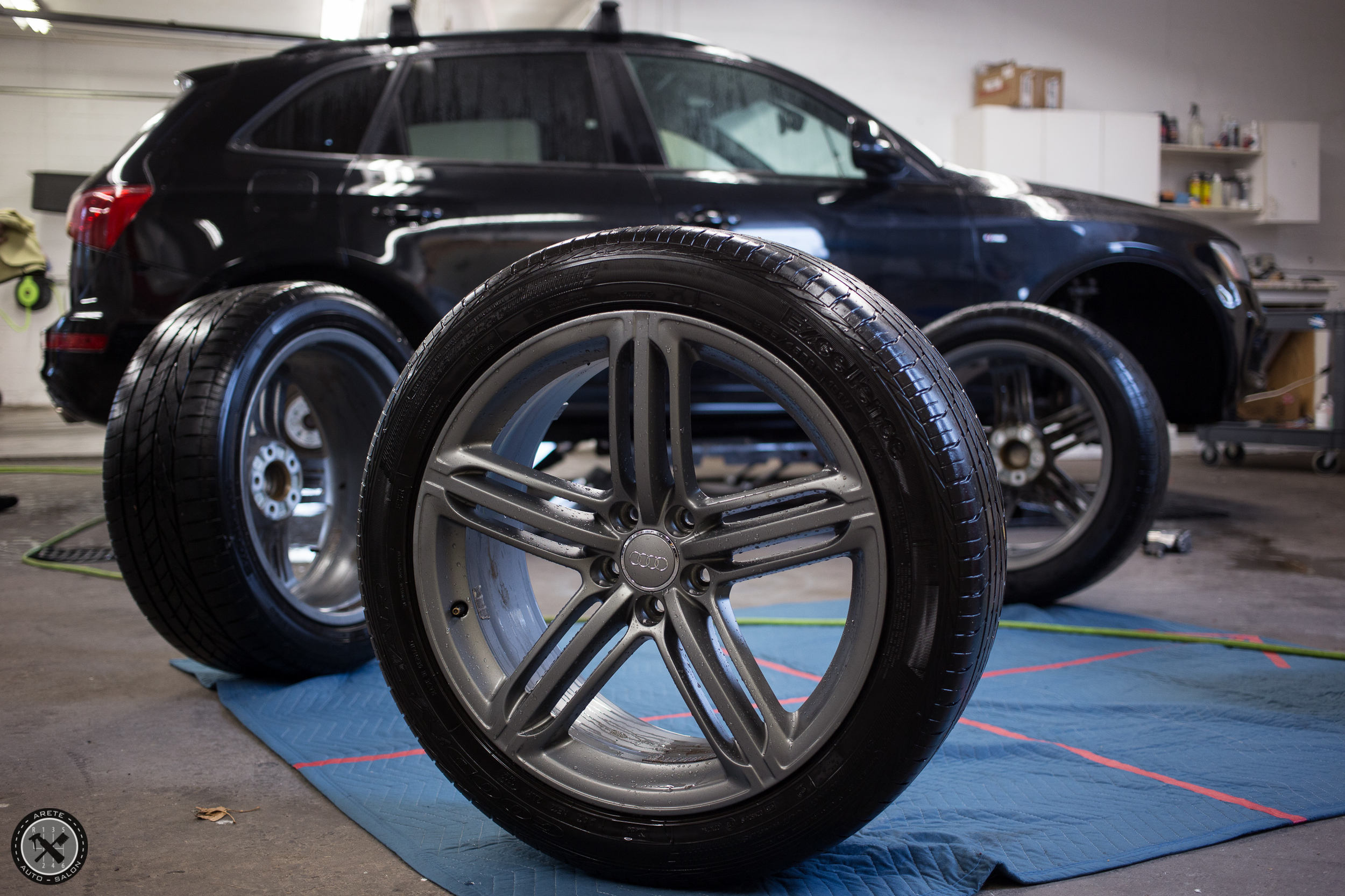 After the wheels were removed from the vehicle, a second decontamination was performed to prepare for coating in CQuartz Finest.