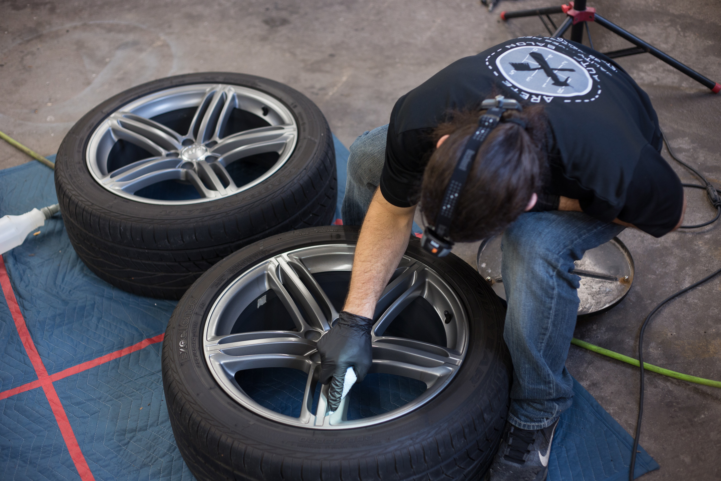 Following decontamination, CQuartz Finest was applied to the faces and barrels of the wheels.