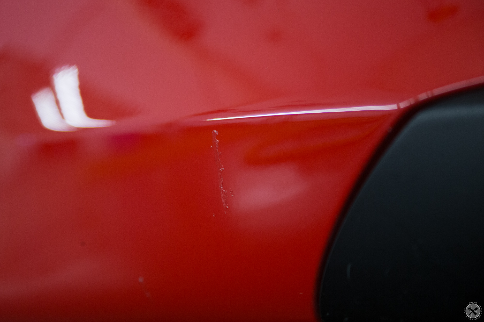 Prior to purchase, it was evident that paint protection film had previously been on the vehicle and was not totally removed.