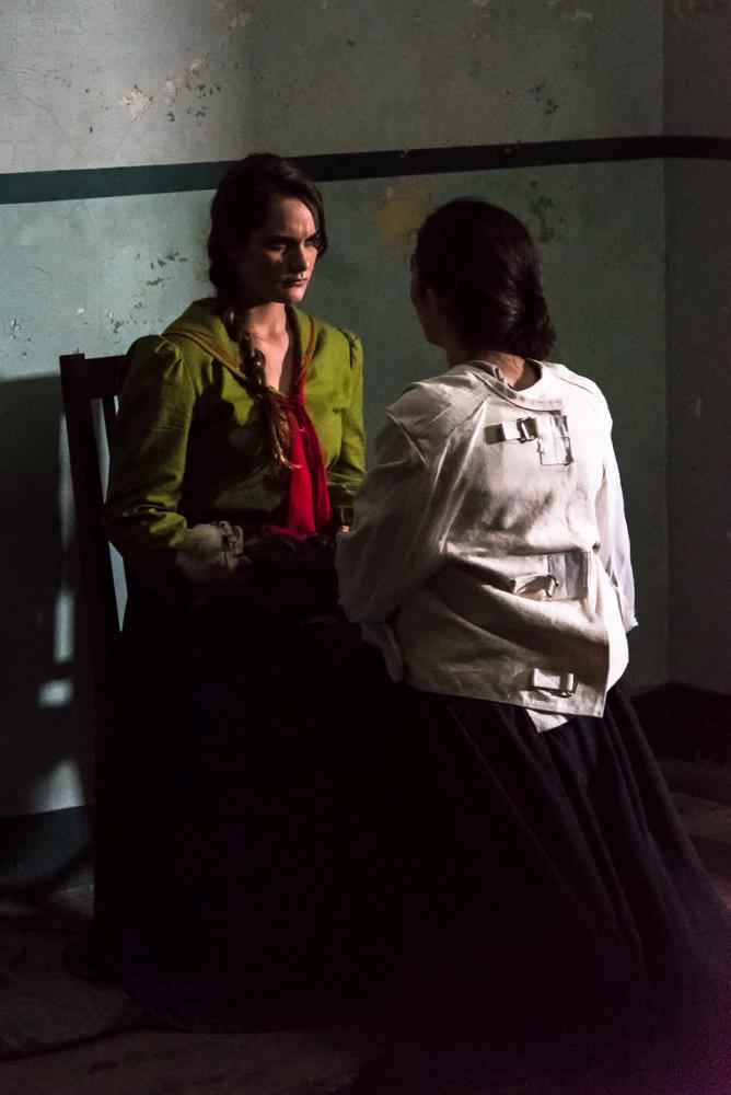 "Vireo (Rowen Sabala, left) and her ""mysterious twin Caroline"" (Emma MacKenzie)."
