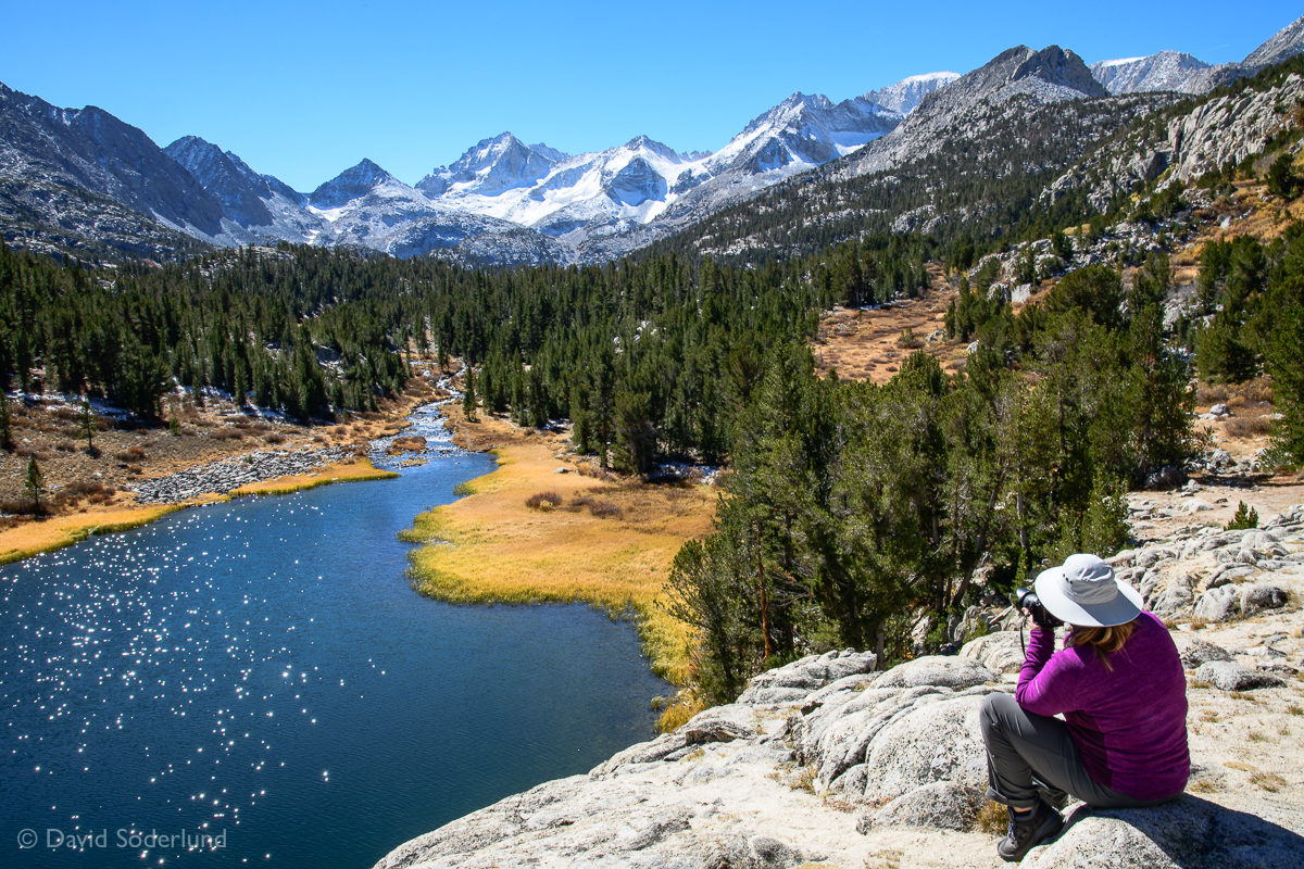Carol gets the shot (above Heart lake, Little Lakes Valley)