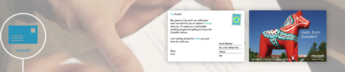 This is the first encounter with the service while you still in your homeland. It will be sent along with the paper from the swedish embassy. The postcard includes the first morph interaction with stretchable words that turn into swedish in the english text.