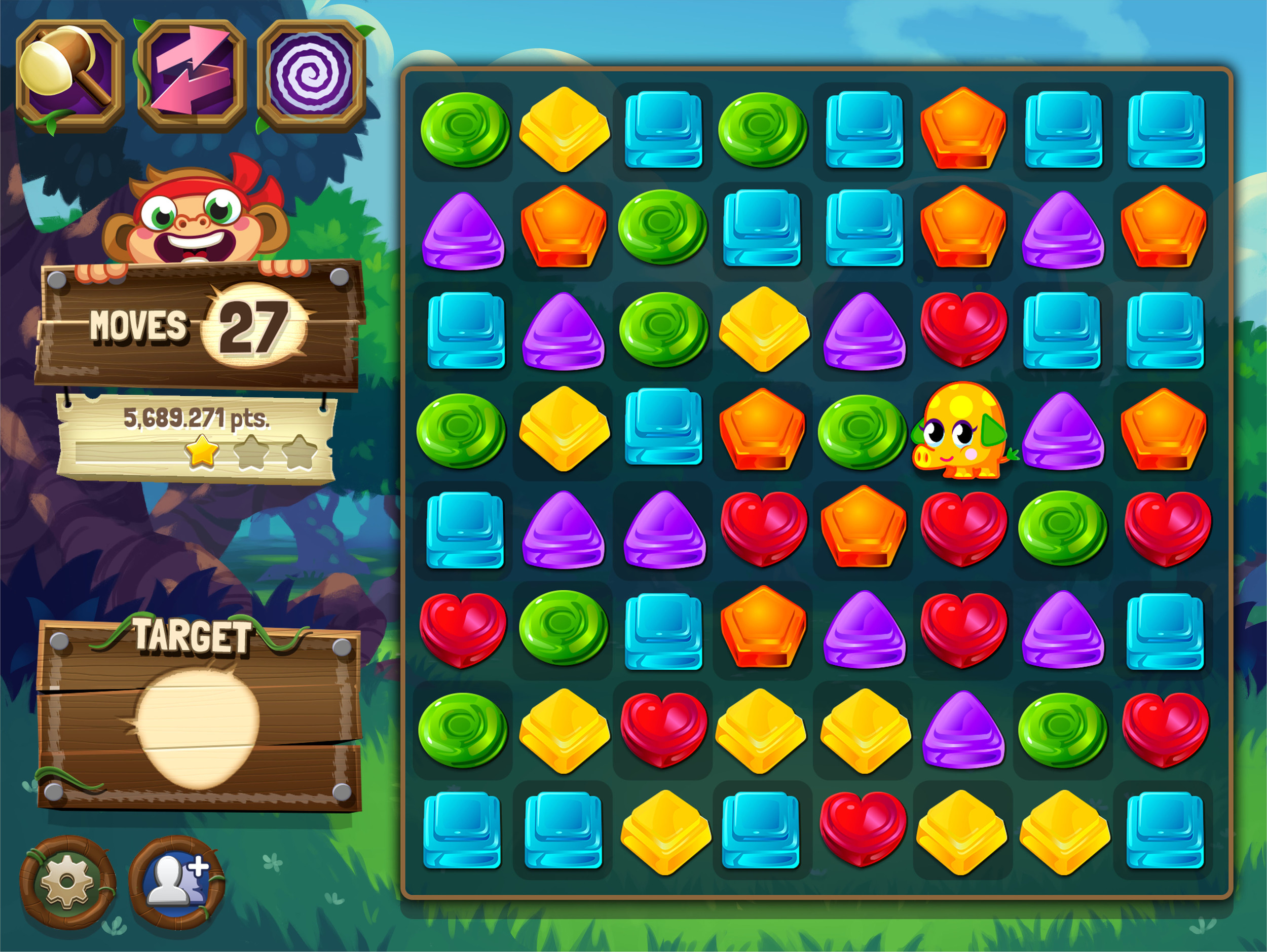 Game screen with UI elements. (UI & game pieces by Ram Kanda)