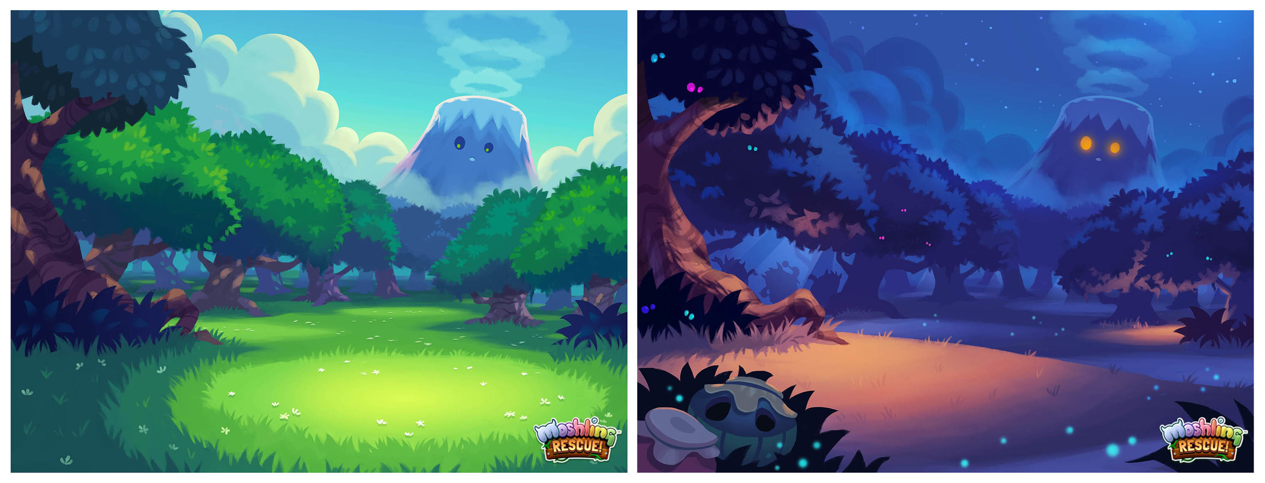Day and night game screen backgrounds.