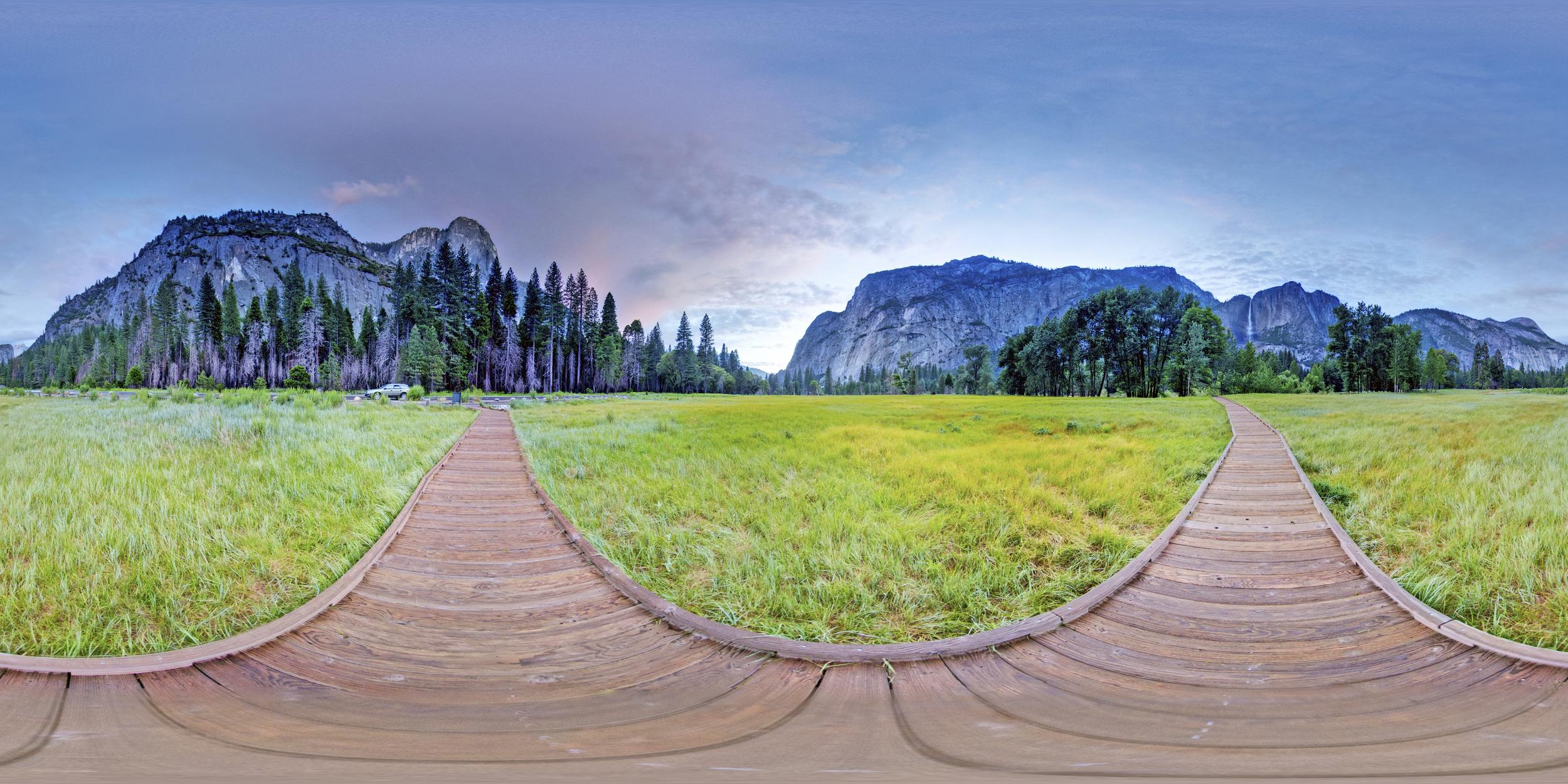 360º Landscape; View of El Capitan Meadow at Yosemite National Park.