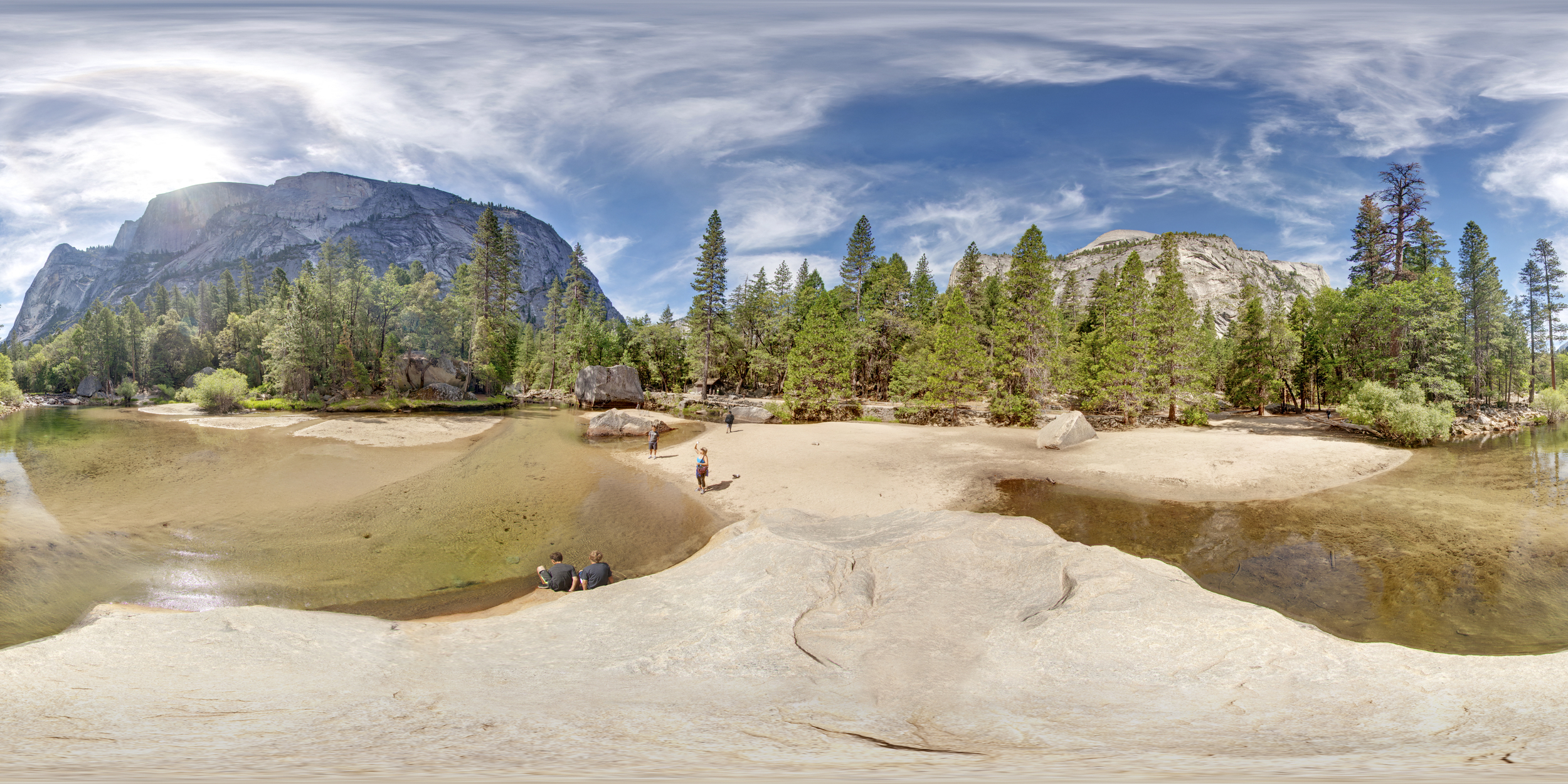 360º Landscape; View of Mirror Lake at Yosemite National Park.