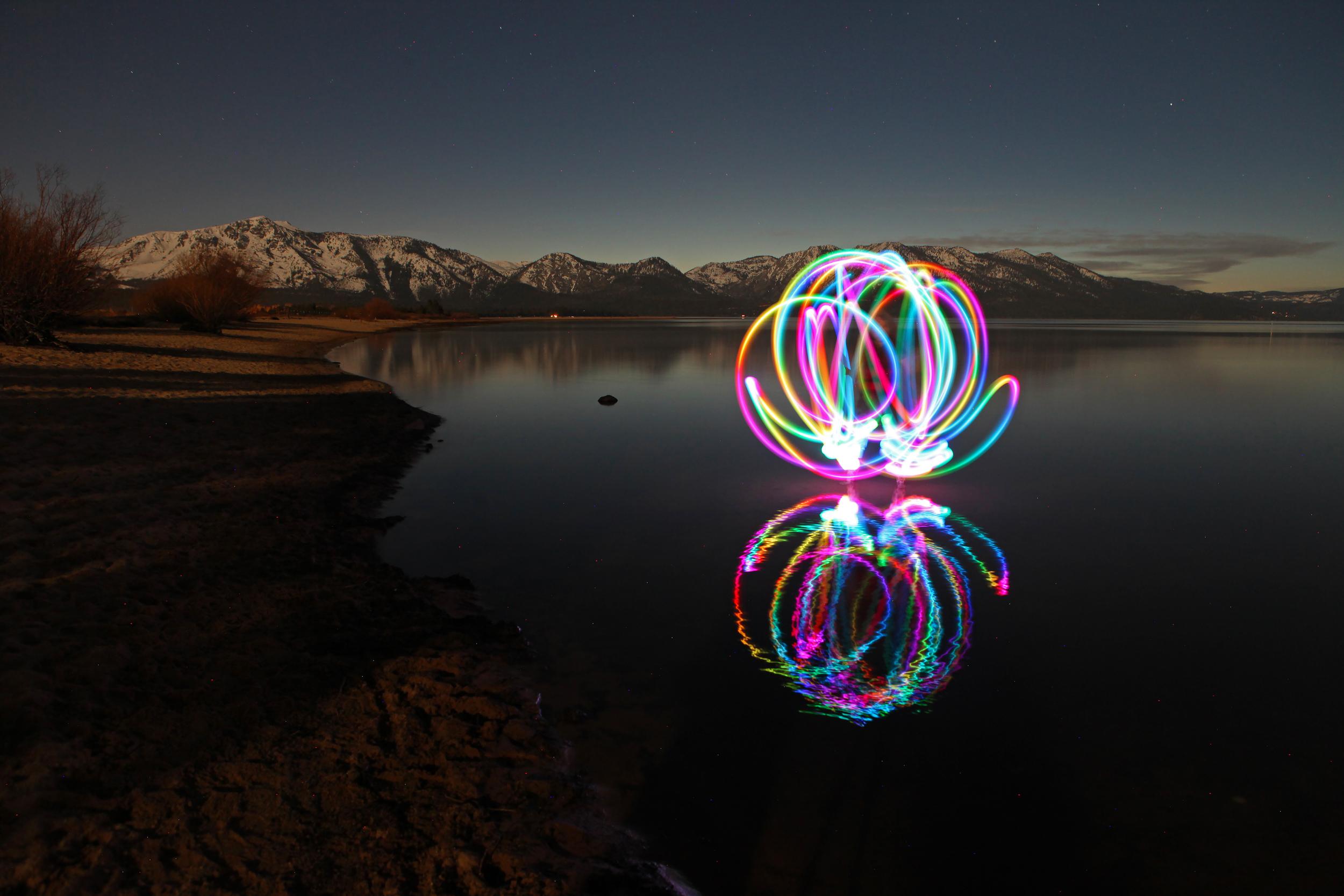 Light Painting on Lake Tahoe