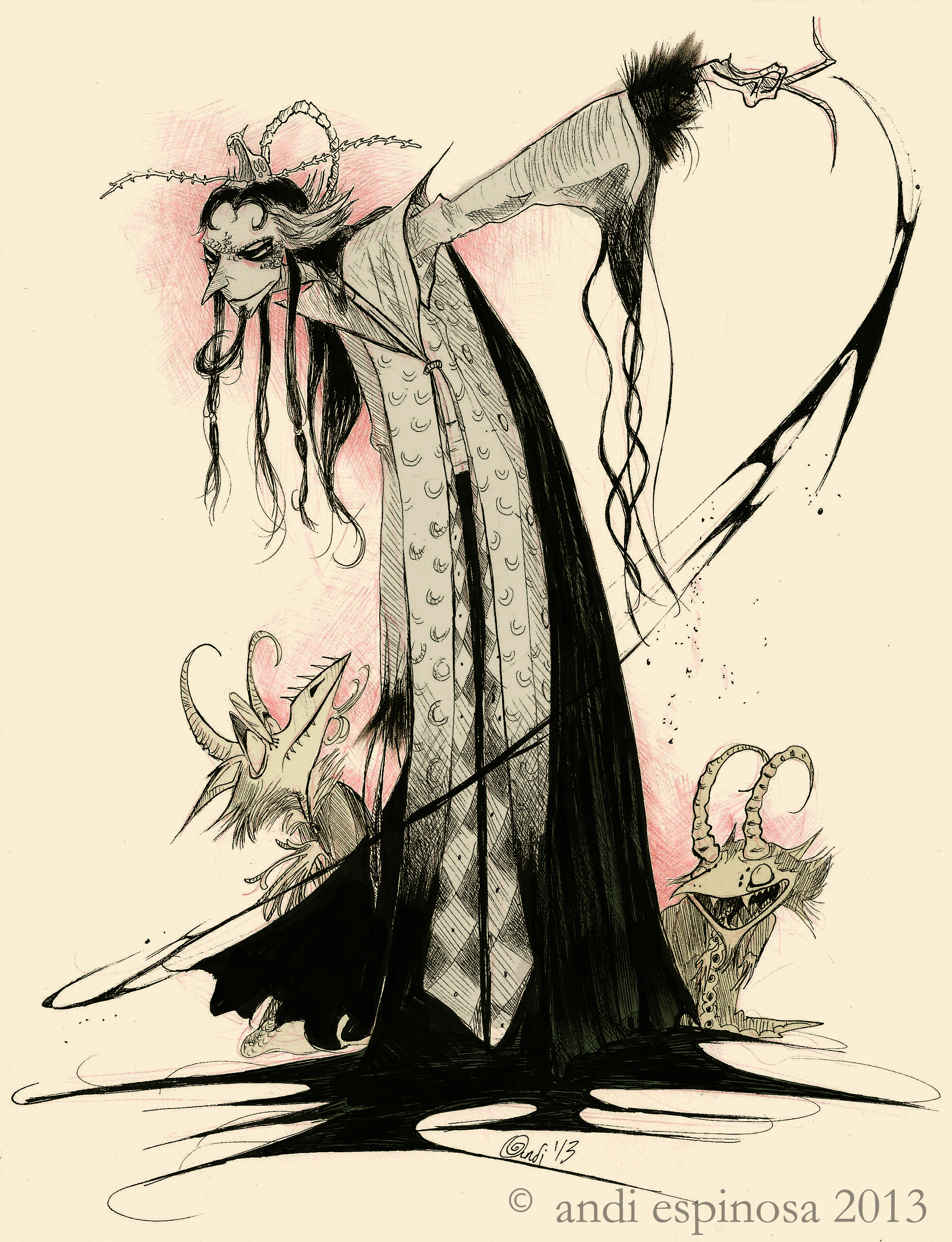 Crowns of Fate - Lord Salthrin concept,  ink & Photoshop    © Andi Espinosa 2013    © Laura-Ashley Arrogante 2013