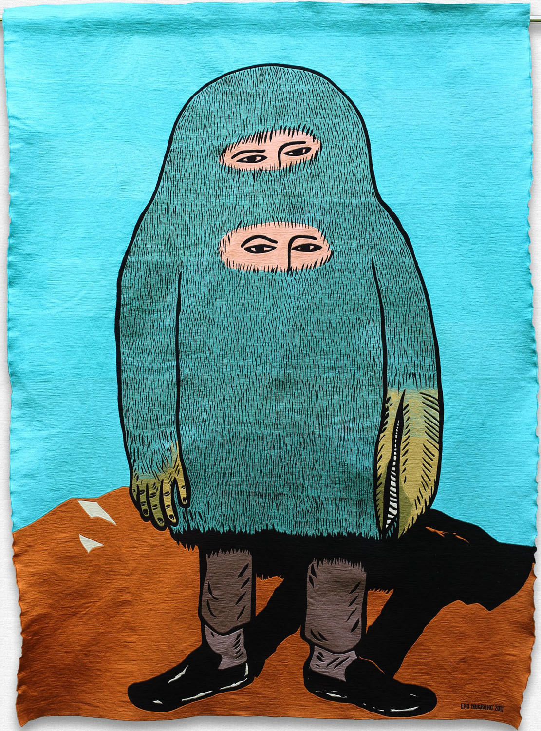 Eko Nugroho   I was in wrong generation , 2011 embroidered rayon thread on fabric backing 79.53 x 58.27 inches 202 x 148 cm