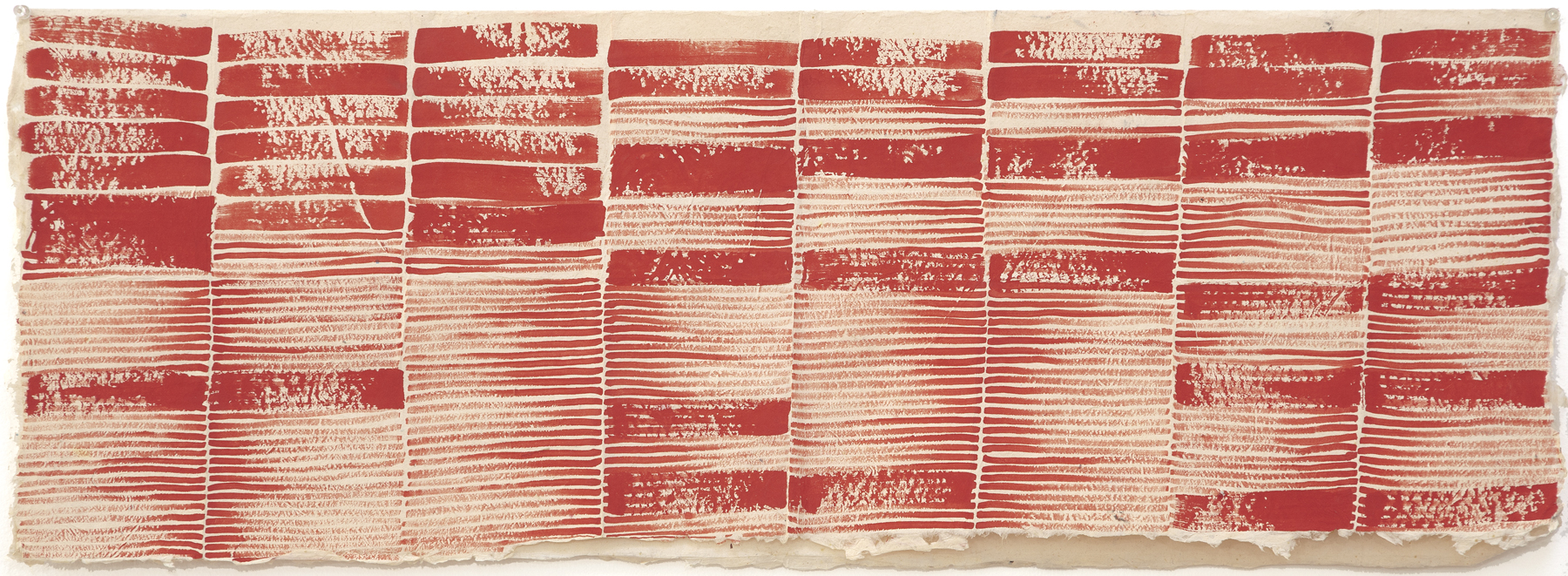 Huguette Caland   Silent Letters , 2001 acrylic on paper 14.17 x 39.37 inches 36 x 100 cm