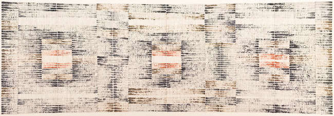 Huguette Caland   Untitled , 1999 Acrylic on linen 11 x 25.5 inches 27.9 x 64.8 cm