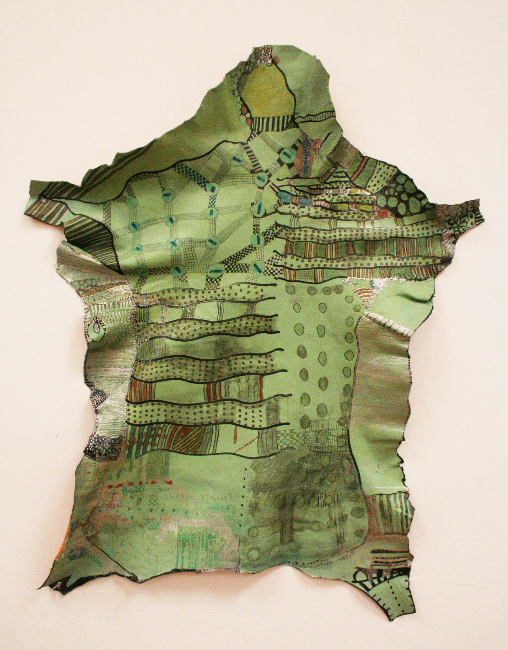 Huguette Caland   Sheep Skin , 2007 mixed media on sheep skin 47.24 x 35.43 inches 120 x 90 cm