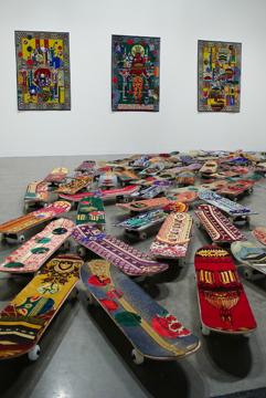 Mounir Fatmi   Maximum Sensation  , 2010 plastic, metal, prayer carpets 50 custom made skateboards (80 cm/each)