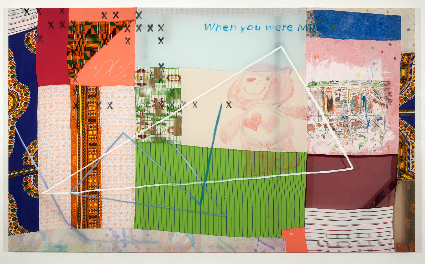 Tameka Norris   How to Write a Cursive X , 2014 acrylic and oil on fabric 60 x 100 inches 152.4 x 254 cm