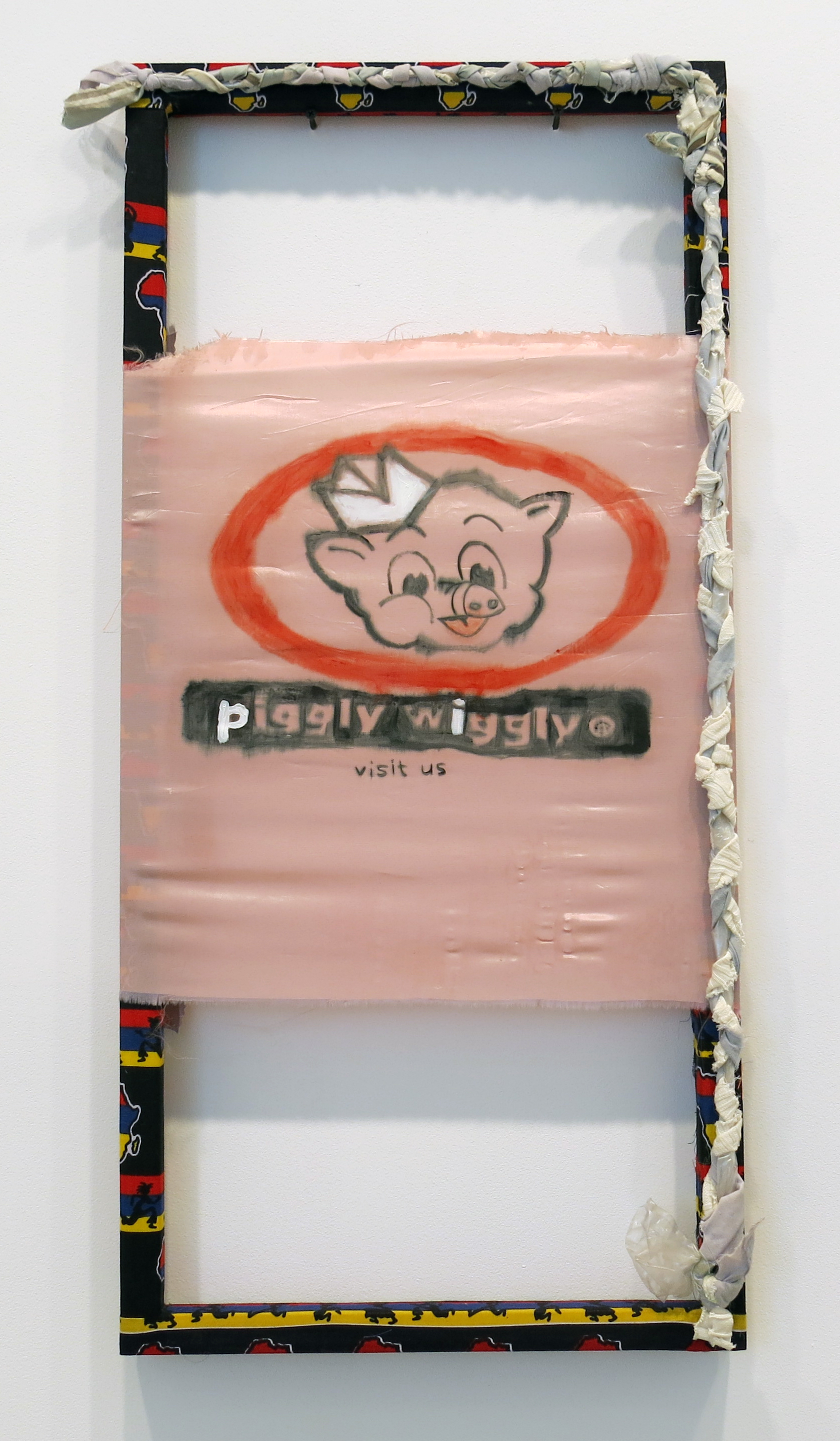 Tameka Norris   Piggly Wiggly 1 , 2014 acrylic and oil on fabric 38 x 18 inches 96.5 x 45.7 cm