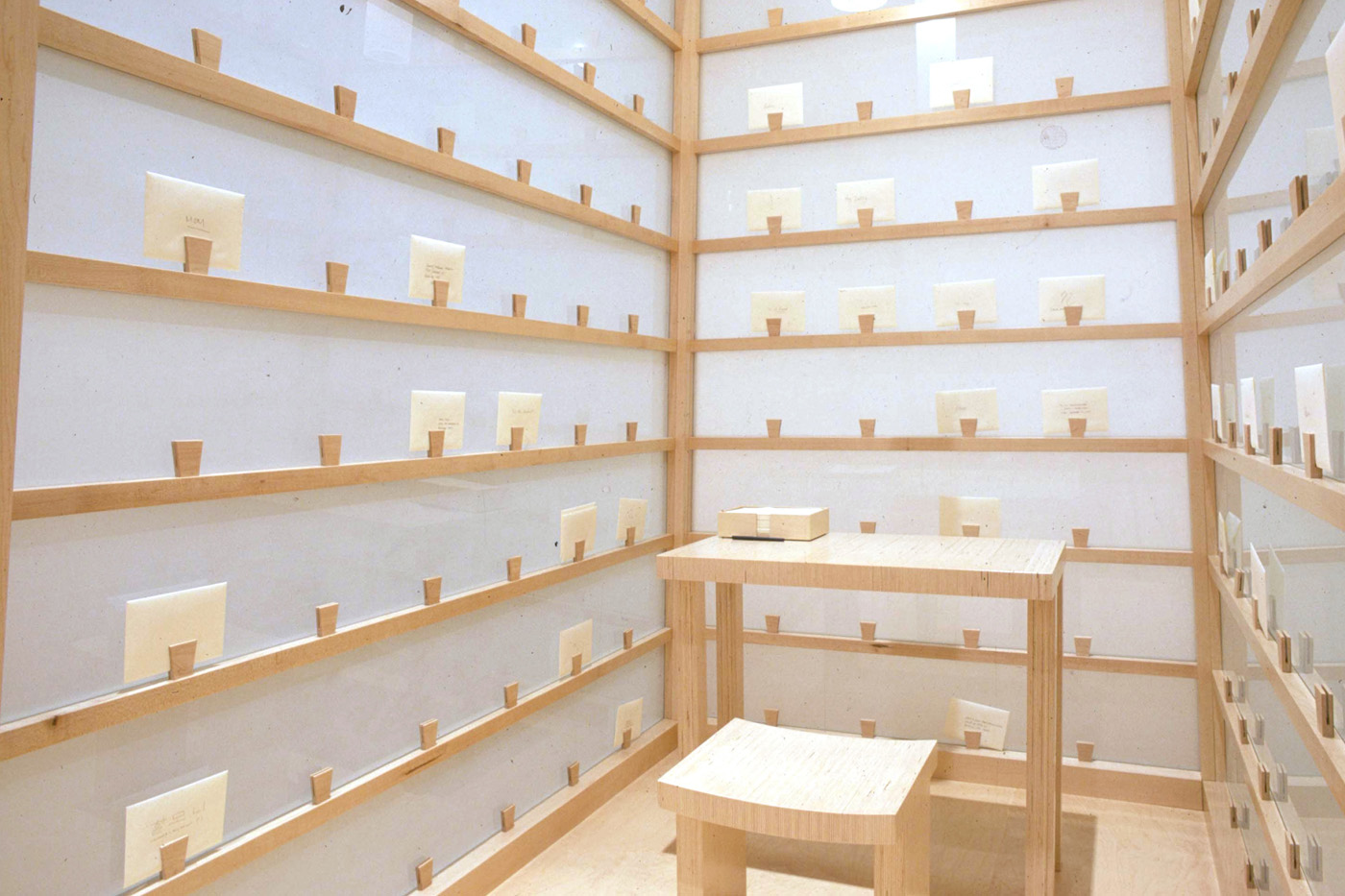 Lee Mingwei   The Letter-Writing Project (Way Stations) , 1999 wood, glass, paper     Installation view at MOCA Cleveland