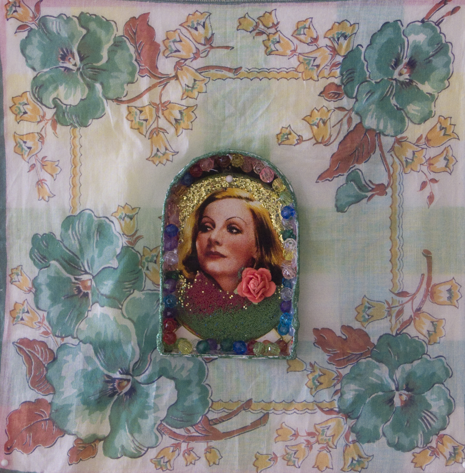 Nina Yuen   Greta Garbo 2 , 2011 mixed media collage 11 x 11 inches 27.9 x 27.9 cm