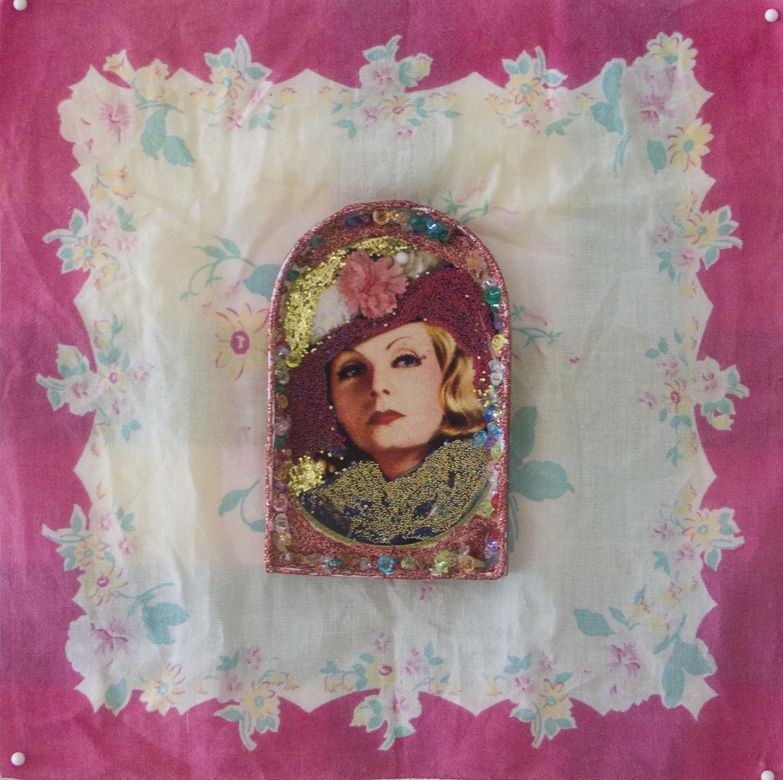 Nina Yuen   Greta Garbo 3 , 2011 mixed media collage 11 x 11 inches 27.9 x 27.9 cm