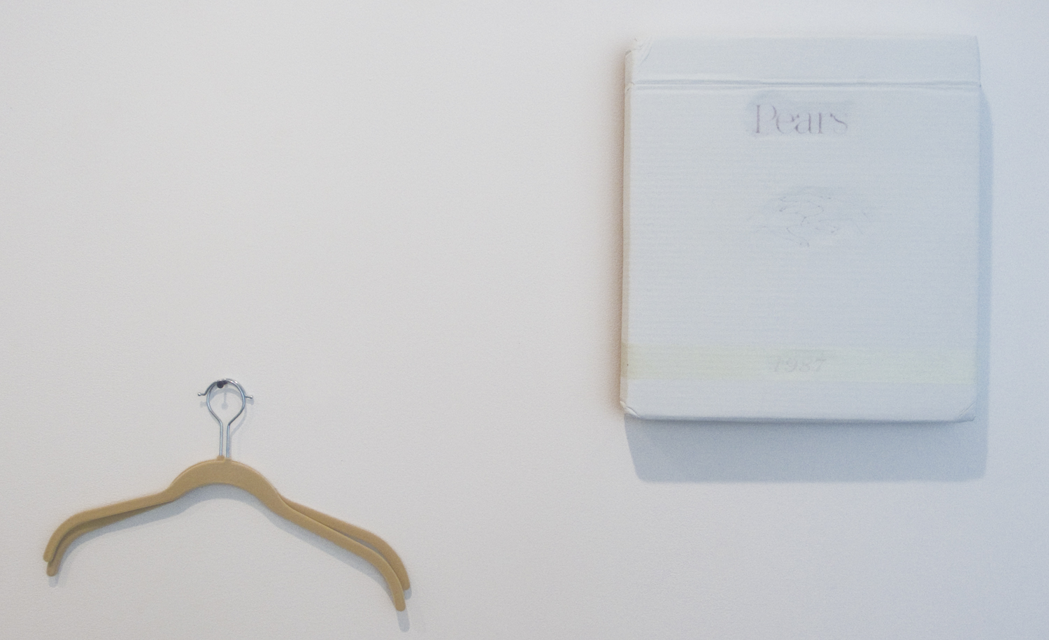 Lee Kit   Pears - 1987 , 2011 Acrylic, emulsion paint and inkjet ink on cardboard with hangers 13.78 x 15.35 inches 35 x 39 cm