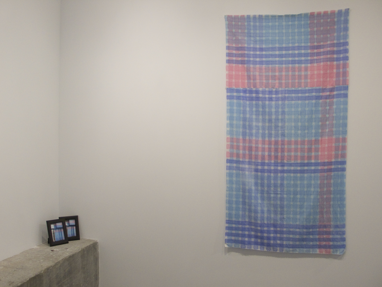 Lee Kit   Hand Painted Cloth (used as window curtain) , 2011 acrylic on fabric, 2 photo documents 81 x 40 in 205.7 x 101.6 cm