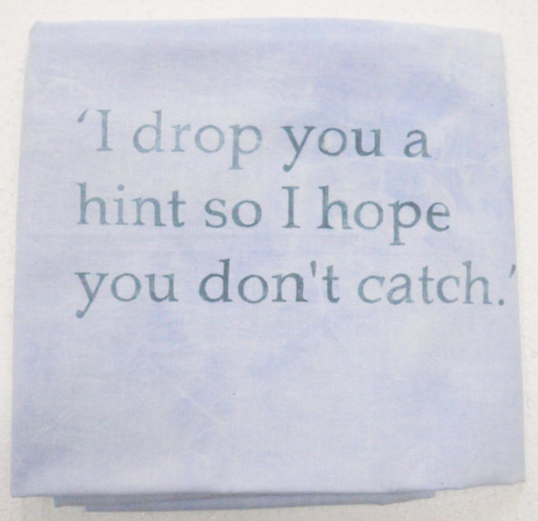 Lee Kit   I Drop You a Hint so I Hope you Don't Catch , 2011 acrylic on fabric 44 x 40.5 inches 111.8 x 102.9 cm