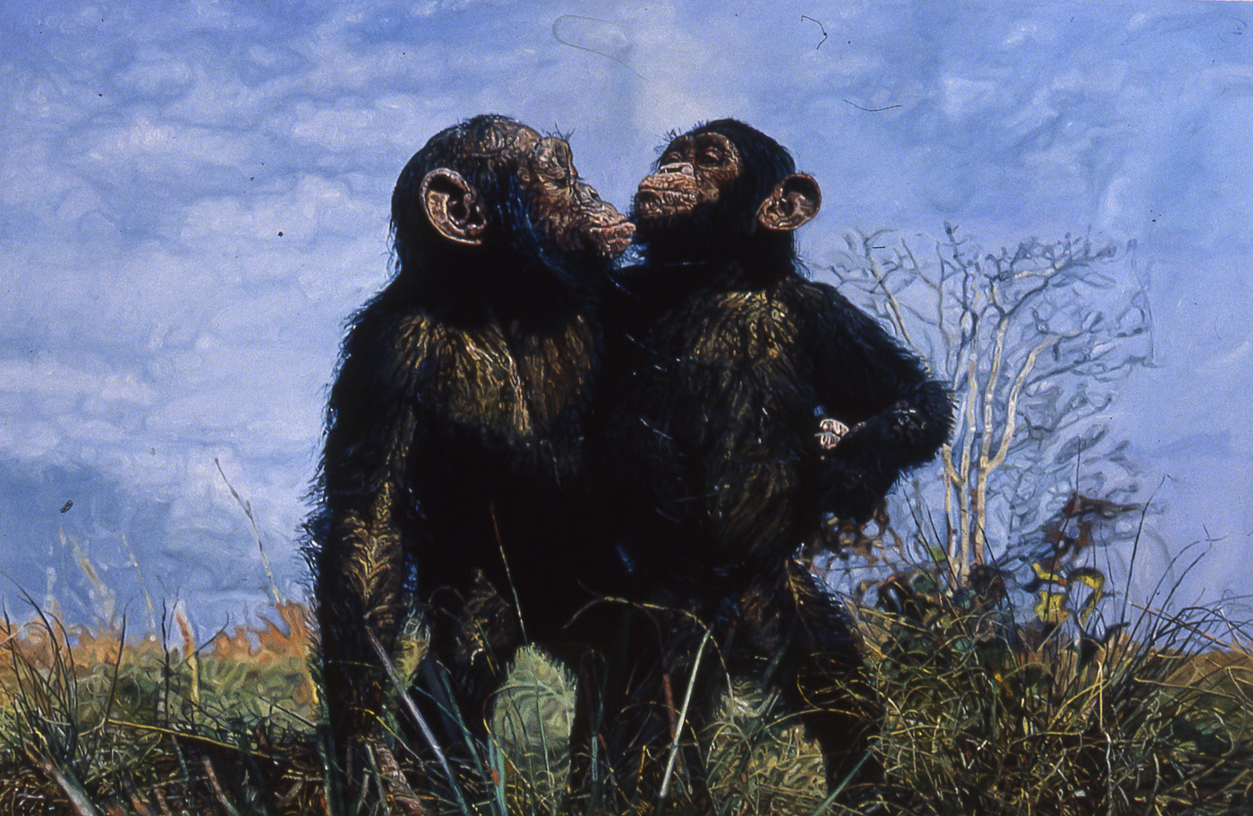 Ulrich Lamsfuss  Untitled (Chimps), 2002 Oil on canvas 90 1/2 x 63 inches 230 x 160 cm
