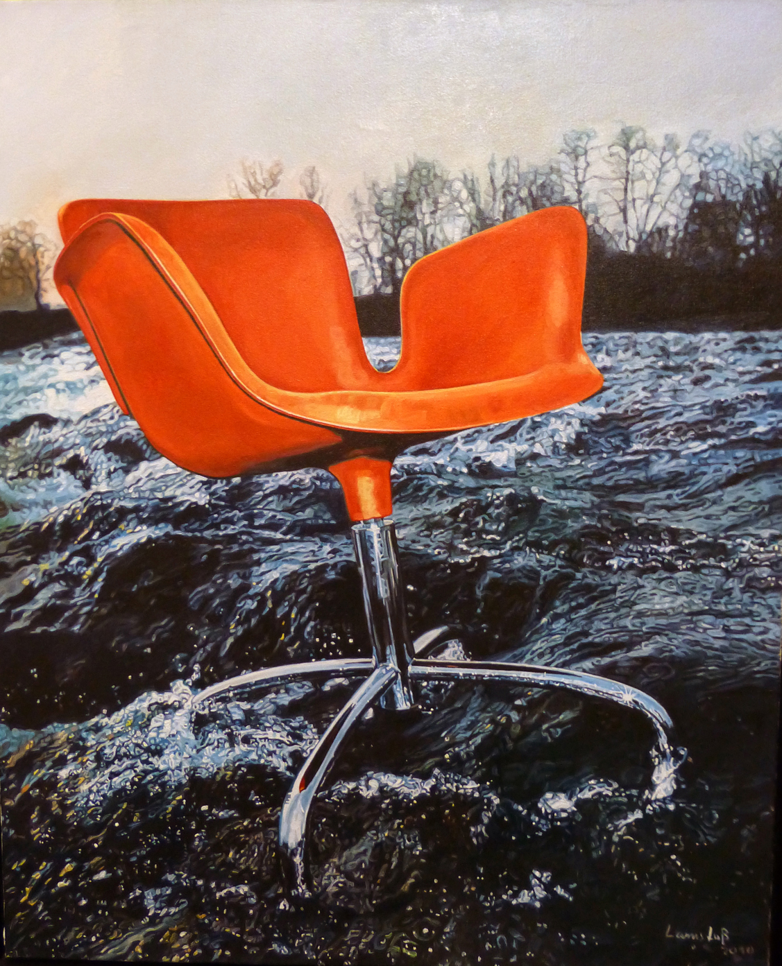 Ulrich Lamsfuss   Sebastiano Pavia, Guilio Cappelini chair (Wallpaper April 1999)  , 2010   oil on canvas   35.43 x 28.74 inches   90 x 73 cm