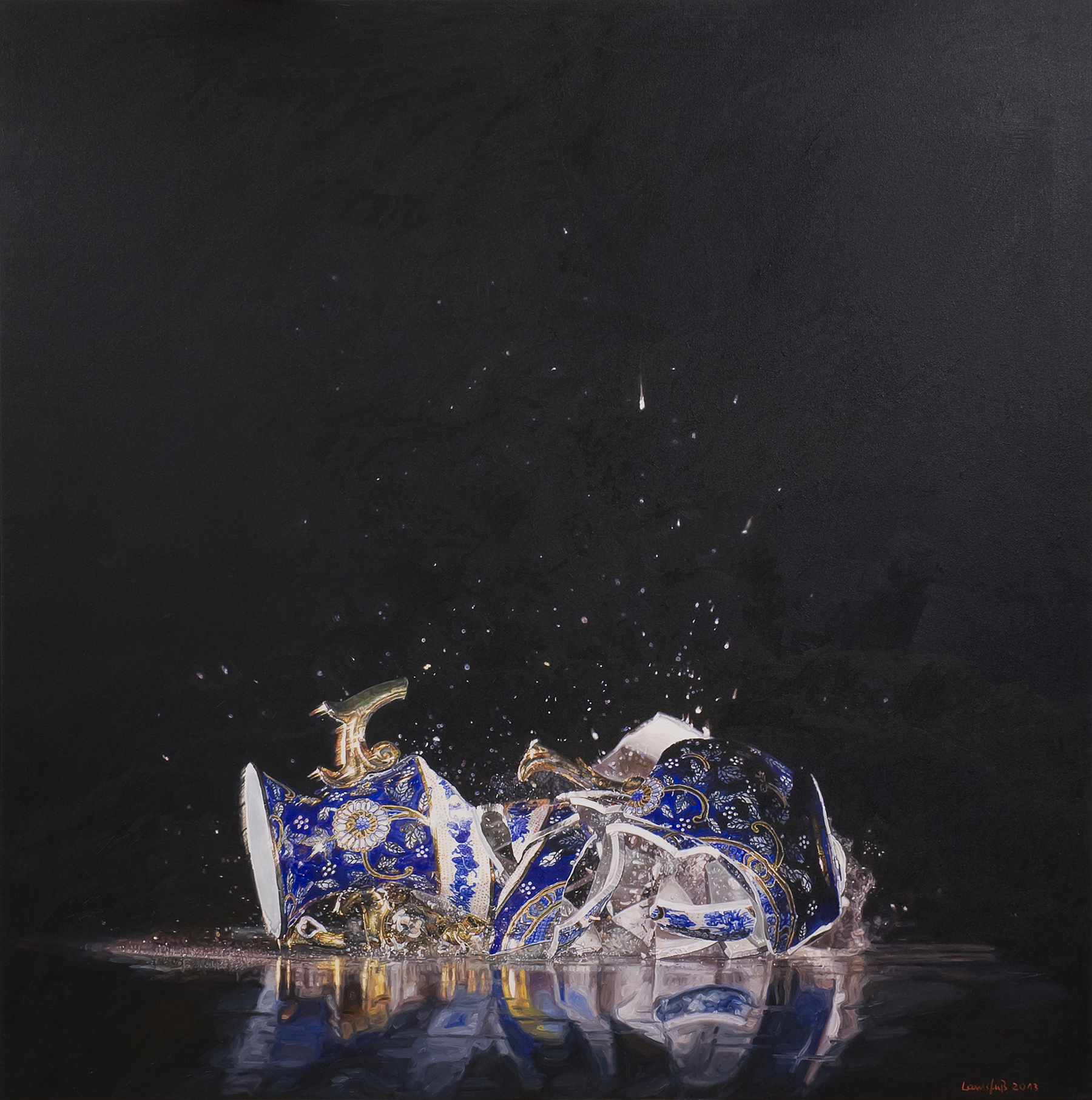 Ulrich Lamsfuss   Ryan McVay, Vase Shattering (gty. im. #200436912001) No. 2  , 2012   oil on canvas   49.21 x 49.21 inches   125 x 125 cm