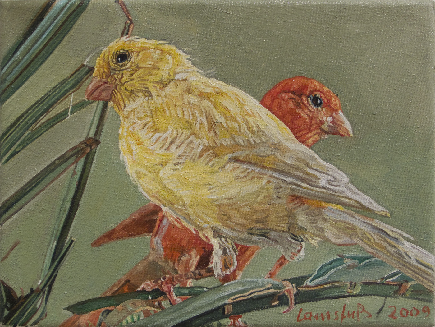 Ulrich Lamsfuss   Birdie I [Das optimale Kanarienfutter. Jede Saat hat ihren Sinn. (Das Tier Nr. 7, Juli 1989)] , 2009 oil on canvas 7.09 x 9.45 inches 18 x 24 cm