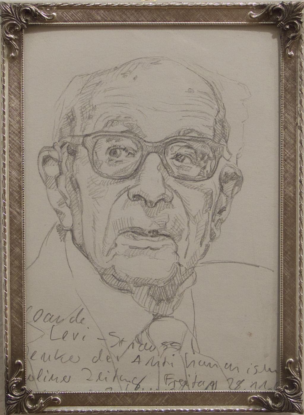 Ulrich Lamsfuss   Claude Levi-Strauss. Denker des Anti-Humanismus (Berliner Zeitung, Freitag, 28.11.2008) , 2009 Pencil on paper, vintage frame 5 1/4 x 7 1/4 inches 13.3 x 18.4 cm