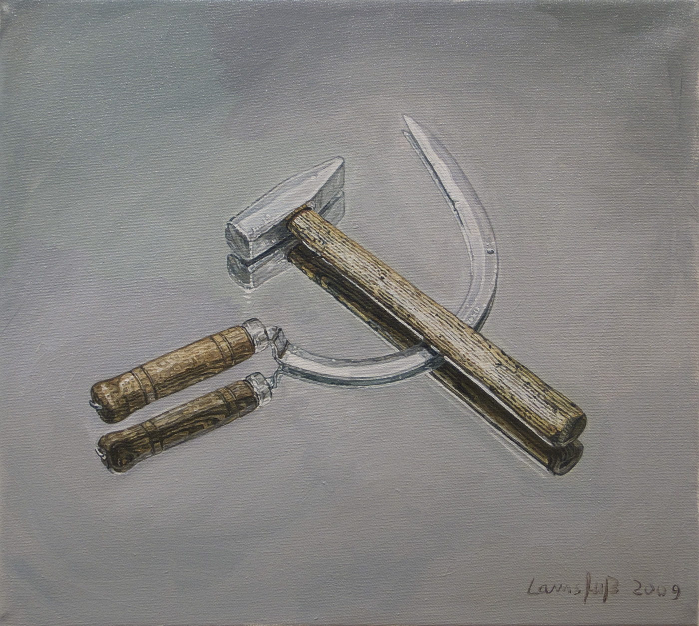 Ulrich Lamsfuss  J osephine Meckseper, Hammer and Sickle (Image from the Josephine Meckseper catalague N°2, Artforum Oct. 2006) , 2009 oil on canvas 14.17 x 15.75 inches 36 x 40 cm