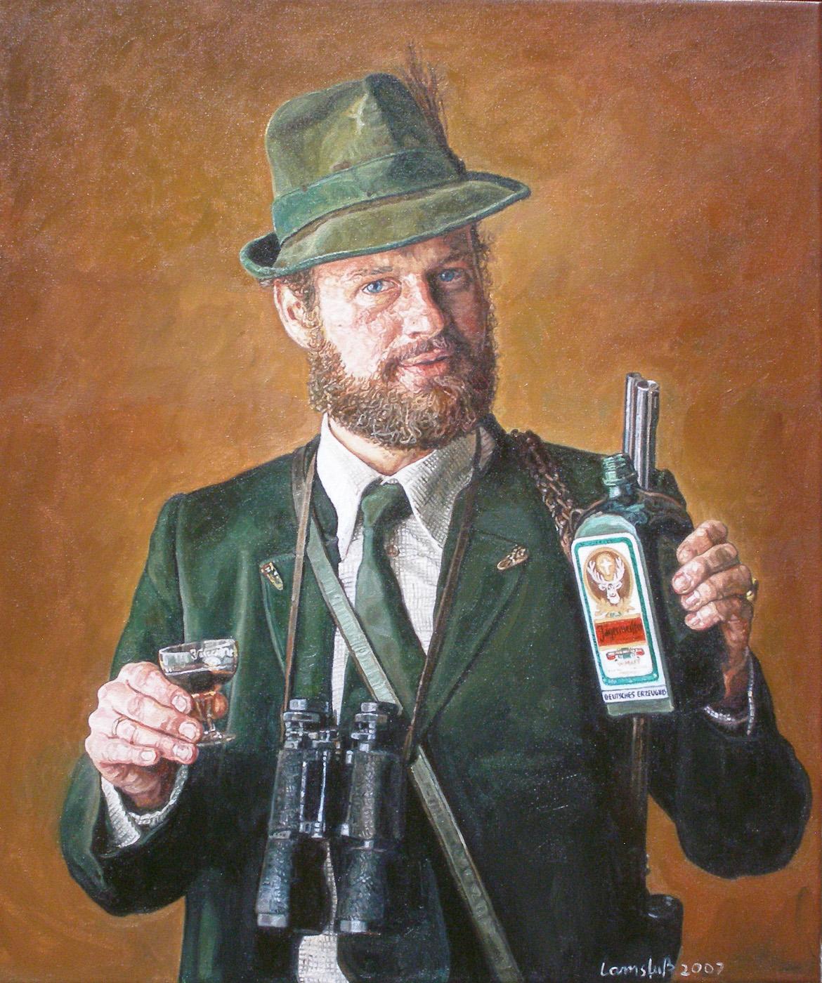 Ulrich Lamsfuss  J ägermeister. Einer für alle. Ich trinke Jägermeister, weil ich auf diesen Hirsch einen Bock habe. (Wild und Hund, 25.9.1977) , 2007 oil on canvas 27.56 x 23.62 inches 70 x 60 cm