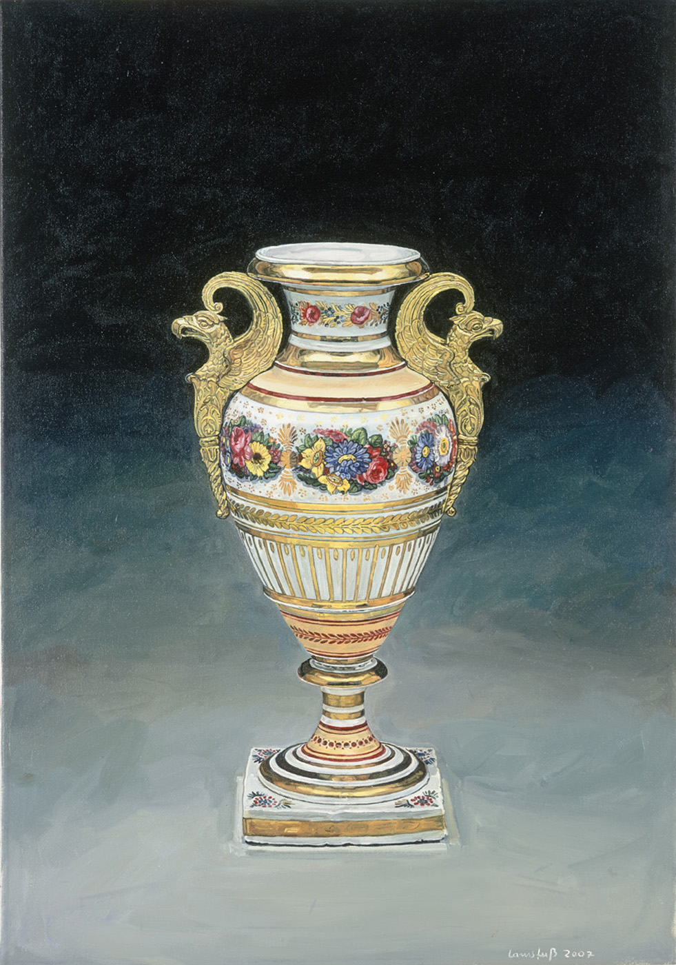 Ulrich Lamsfuss   William Tucker, Vase 1882, Die Kunst der USA, #1 , 2007 oil on canvas 39.4 x 27.6 inches 100 x 70 cm