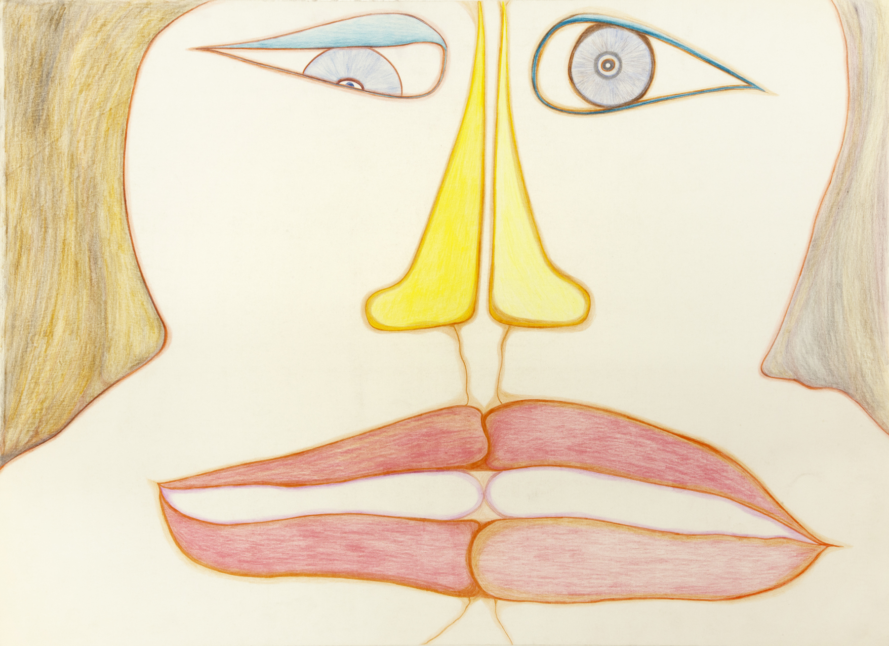 Huguette Caland   Untitled , 1985 colored pencil on paper 20 x 27.5 inches 50.8 x 69.9 cm