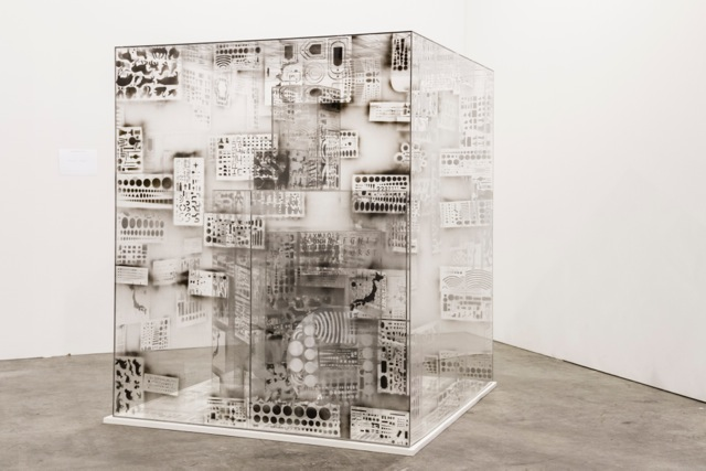 Teppei Kaneuji   Model of Something #3  , 2011   oil based marker on acrylic boxes and boards   53.15 x 43.31 x 43.31 inches   135 x 110 x 110 cm