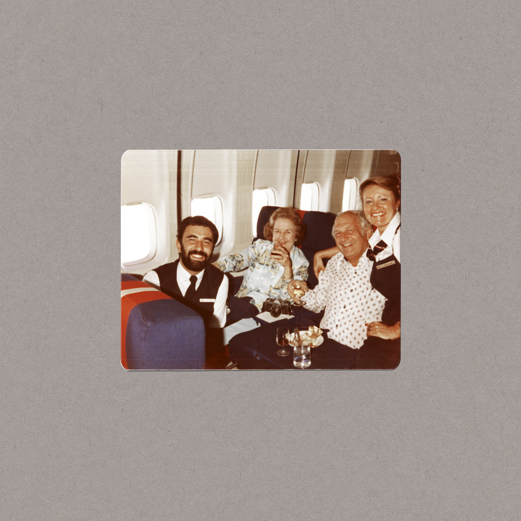 Lucien Samaha   TWA First Class with Passengers (The Flight Attendant Years) , c. 1984, printed 2013 archival pigment print 12.5 x 12.5 inches 31.8 x 31.8 cm