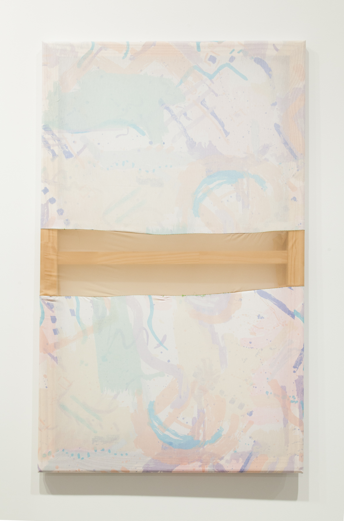 Tameka Norris   Mehetabel (Contrapposto series) , 2013 bedsheets, found fabric, and thread 30 x 50 inches 76.2 x 127 cm
