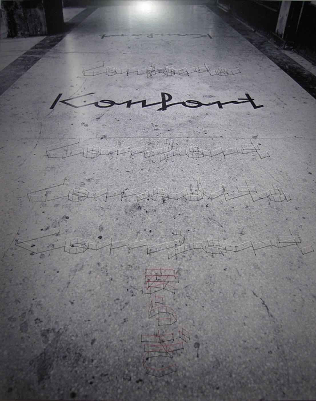 Carlos Garaicoa   Konfort , 2006 black and white photograph, thread, pins 59 3/4 x 48 inches 152 x 122 cm
