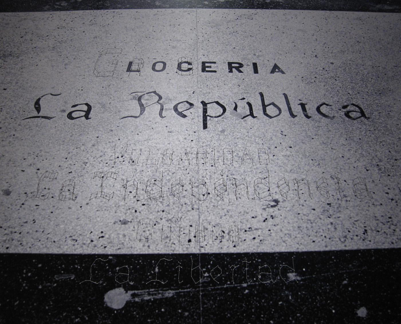 Carlos Garaicoa   La Republica , 2006 black and white photograph, thread, pins 48 x 59 3/4 inches 122 x 152 cm